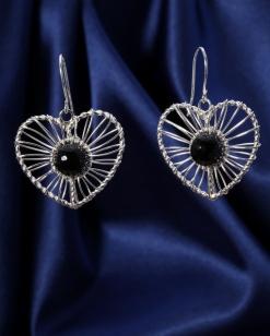 Stříbrné náušnice s achátem NK008