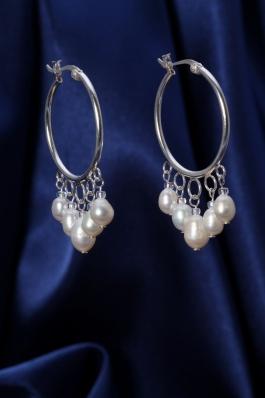 Stříbrné náušnice s perlami NP005 bílé
