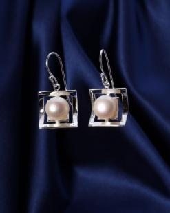 Stříbrné náušnice s perlou NP004
