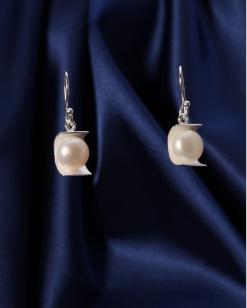 Stříbrné náušnice s perlou NP011