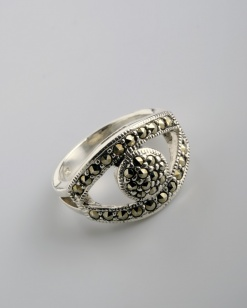 Stříbrný prsten s markazitem PM006
