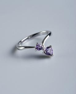 Stříbrný prsten s ametysty PK012