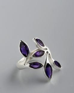 Stříbrný prsten s ametysty PK016
