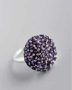 Stříbrný prsten s ametysty PK019