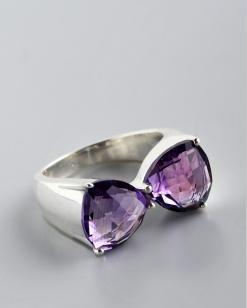 Stříbrný prsten s ametysty PK023