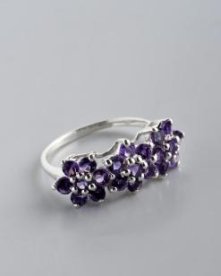 Stříbrný prsten s ametysty PK027