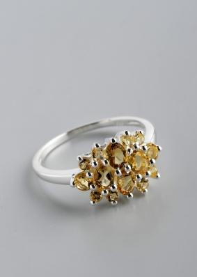 Stříbrný prsten s citríny PK028