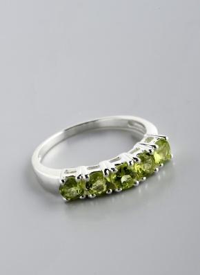 Stříbrný prsten s olivíny PK032