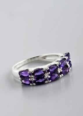 Stříbrný prsten s ametysty PK044