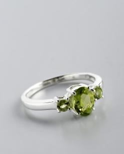 Stříbrný prsten s olivíny PK034