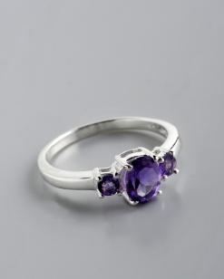 Stříbrný prsten s ametysty PK033