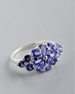 Stříbrný prsten s tanzanity PK039