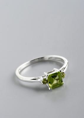 Stříbrný prsten s olivíny PK043