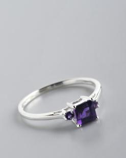Stříbrný prsten s ametysty PK042