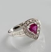 Zlatý prsten s růžovým safírem 0,71 ct a diamanty PZ003