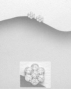Stříbrné náušnice s kubickými zirkony NK053
