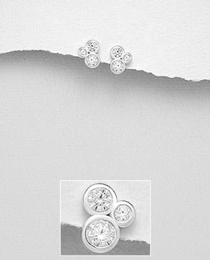 Stříbrné náušnice s kubickými zirkony NK058