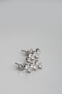 Stříbrné náušnice s kubickými zirkony NK055
